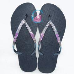 42ba210baddd Thin Strap Havaianas Crystal Clear SWAROVSKI® embellished Havaiana tri  colour Flip Flops - 3 Rows