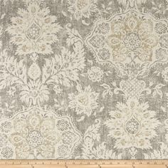Magnolia Home Fashions Belmont Mist from @fabricdotcom  Screen printed on cotton duck; this versatile, medium weight fabric is perfect for window accents (draperies, valances, curtains and swags), accent pillows, duvet covers, upholstery and other home decor accents. Create handbags, tote bags, aprons and more. Colors include beige, grey and cream.