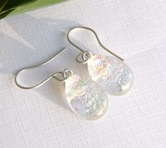 Pastel Rainbow Dichroic Glass Dangle Earrings - Fused Glass Jewelry - Crystal Clear Art Glass Drop Earrings on 925 Sterling Silver Earwires by TremoughGlass on Etsy