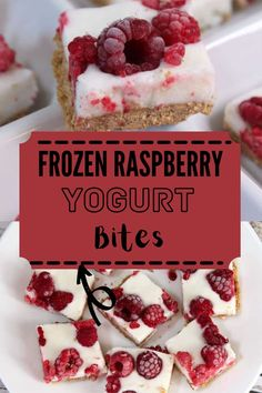 These easy, healthy frozen raspberry bites come togehter quickly and offer natural sweetness with the goodness of yogurt and berries! #yogurtbites #raspberrybites Frozen Desserts, Frozen Treats, Healthy Desserts, Fun Desserts, Dessert Recipes, Party Recipes, Frozen Yogurt Bites, Incredible Recipes, Breakfast Snacks