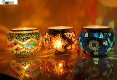 Umiwe Mosaic Glass Tealight Candle Holder Candle Lantern Centerpieces For Home Decorations(China (Mainland))