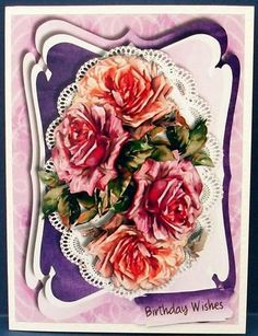 Lovely liac Roses on Oval Lace  on Craftsuprint designed by Ceredwyn Macrae - made by Cheryl French - Printed onto glossy photo paper. Attached base image to card stock using ds tape. Built up image with 1mm foam pads. - Now available for download!