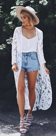 #summer #popular #outfitideas White Lace Kimono + White Cami + Denim Shorts