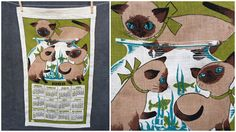 1968 Gilmour Mid Century Siamese Cat Calendar Tea Towel - NWT by ElkHugsVintage on Etsy