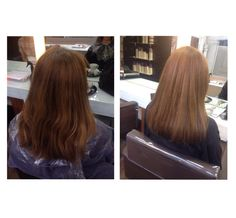 24/09/2014 Before and after (back). I used 77/0 and 6% on her roots to cover the grey, then took 7/0 through the ends to even out the colour. I then finished with a straight blow dry using a round brush.