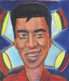 Elvis Presley portrait, acrilico sobre tela, 19,5 x 17 cm, 2015. Painting for sale of the Serie Music by artist Diego Manuel. Cuadro en venta de la Serie Musica
