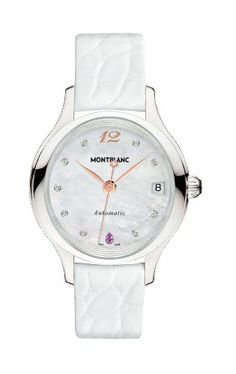 Mont Blanc Princesse Grace de Monaco White Mother of Pearl with Diamonds Dial White Leather Ladies Watch 109274 | Your #1 Source for Watches...