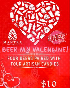 Mantra Tap Room open 12p-6p today with beer  candy flights that will make you swoon! Bring in your beloved and celebrate each other over suds and sweets! Happy  Day!  #valentinesday #FranklinTN #celebratelocal #whatisyourmantra