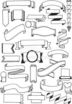 Hand drawn vector doodle banners, quirky and fun banner clip art.