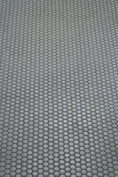 Basement bathroom floor tile - grey penny tile, grey grout