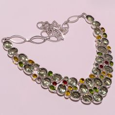 .925 Sterling silver green amethyst+citrine+peridot+smoky+ Necklace f42 87gm #Handmade #Necklace