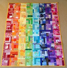Sew Me: Rainbow Crumbs Quilt Finish – Qquilting 2020 Scrappy Quilt Patterns, Scrappy Quilts, Patchwork Quilting, Quilt Blocks, Modern Quilting, Quilting Ideas, Quilting Projects, Crumb Quilt, Bright Quilts