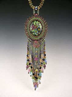 BEAUTIFUL    suite148:    Bead embroidered fused glass necklace by Beaded Art Jewelry on Flickr.