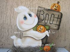 Toll Painting on a ghost decoration Fall Wood Crafts, Halloween Wood Crafts, Halloween Rocks, Halloween Painting, Halloween Drawings, Halloween Pictures, Halloween Ghosts, Holidays Halloween, Halloween Themes