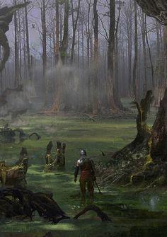 """Fantasyartwatch: """"the waking woods by blake rottinger """" fantasy rpg, dark fantasy, Dark Fantasy Art, Fantasy Artwork, Fantasy Concept Art, Fantasy Art Landscapes, Fantasy Forest, Fantasy City, Fantasy Places, Fantasy Rpg, Fantasy Landscape"""
