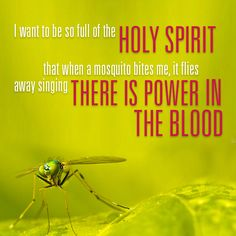 I want to be so full of the Holy Spirit that when a mosquito bites me, it flies away singing There is Power in the Blood.