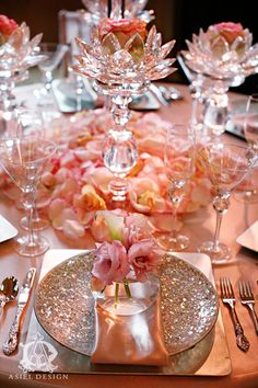 Beautiful Peach Tablescape   ~  we ❤ this! moncheribridals.com  #weddingplacesetting