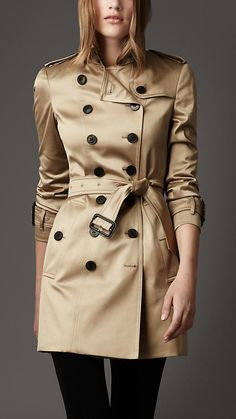 Burberry London ~ Mid-Length Stretch Cotton Trench Coat ~ Timeless, stylish, classic design. Such a coat is a wardrobe basic.