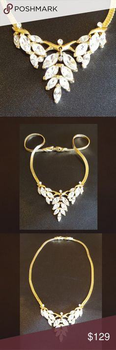 "Vintage Trifari necklace This Vintage (40 yr. old) Trifari necklace looks like it is brand new! With a gold-toned chain & clasp, beautiful, clear, marquis-shaped, crystal rhinestones, this necklace is made for a Queen. In the comment section I will give you more information on Trifari costume jewelry since the 1920's when the Company originated in the U.S. This timeless piece is 18"" long, and in excellent condition, showing no wear or scratches. Jewelry Necklaces"