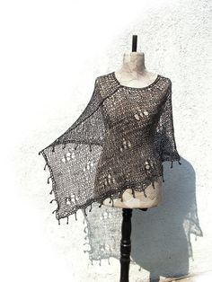 Boho Black Poncho  Hand knitted Unique asymmetrical by woollinen