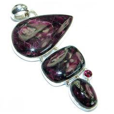 Huge genuine Russian Eudialyte .925 Sterling Silver handcrafted Pendant