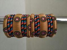 Gold n mixed colour silk thread Bangles