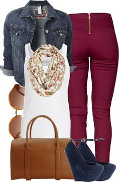 "Plum, Denim, White, Blue, Brown Outfit ""4