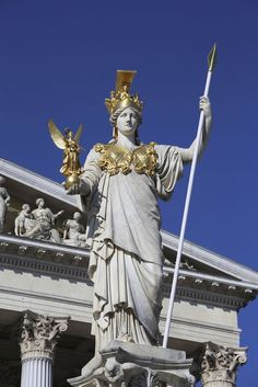 Athena Statue in Front of the Parliament Building, Vienna, Austria. Ancient Greek Art, Ancient Greece, Poseidon Statue, Greek Statues, Buddha Statues, Angel Statues, Greece Mythology, Rome Art, Marble Art