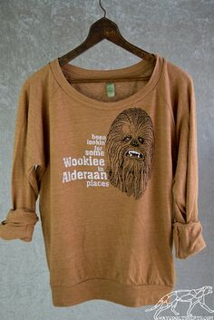 Star Wars WOOKIEE SLOUCHY PULLOVER - Woman's Off the Shoulder Lightweight Sweater in Pumpkin. Funny Long Sleeve Shirt on Etsy, $38.00