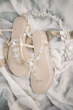 Sparkling Bridal Sandals for a Whimsical Summer Wedding | Christine Gosch Photography | http://heyweddinglady.com/natural-romance-ethereal-garden-wedding/ ‎