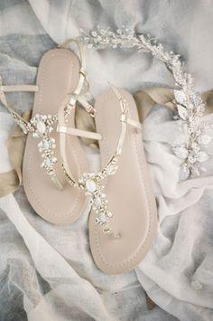 Sparkling Bridal Sandals for a Whimsical Summer Wedding | Christine Gosch Photography | http://heyweddinglady.com/natural-romance-ethereal-garden-wedding/ 