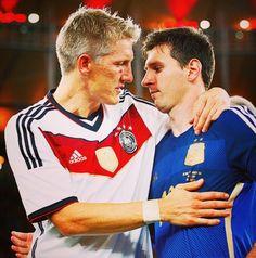 Bastian Schweinsteiger shows great sportsmanship by consoling Lionel Messi