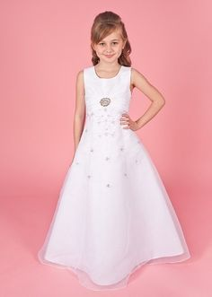Linzi Jay First Communion Dress - Kerry - A- Line Satin & Organza Beaded Dress With Silver Brooch And Jacket