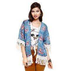 Kimono Feminino estampado e com franjas