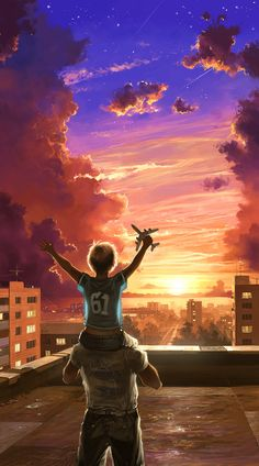 Illustrations Discover My Dusk by fear-sAs on DeviantArt Cute Cartoon Boy, Sky Anime, Animated Love Images, Just Dream, Matte Painting, Anime Scenery, Cartoon Wallpaper, Iphone Wallpaper, Digital Illustration