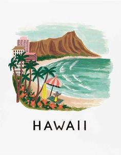 Retrouvez cette Affiche Hawaii Rifle Paper sur la boutique en ligne d'idées cadeaux déco et papeterie, Lili's.