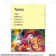 HARLEQUIN AND COLUMBINE Music,Decor,Theater Artist Large Business Cards (Pack Of 100)