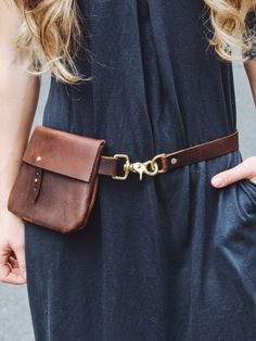 Classic festival fanny pack // full-grain brown kodiak leather + solid brass…