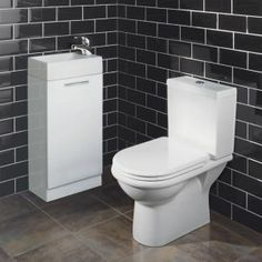 Keep toiletries hidden from view with the Milano Palma Cloakroom Suite Downstairs Cloakroom, Downstairs Toilet, Sink Vanity Unit, Vanity Units, Cloakroom Suites, Cloakroom Ideas, Hidden Storage, Bathroom Inspiration, Powder Room