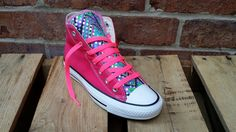 Rasberry dazzle custom made Chuck Taylor by JAMCouture4u on Etsy, $89.00