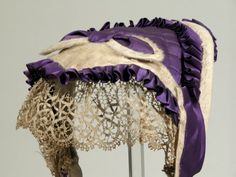 1865 - 1870 Mourning Bonnet (be half mourning assuming it is mourning!) National Trust Inventory Number 1349776 Collection: Snowshill Wade Costume Collection, Gloucestershire (Accredited Museum)