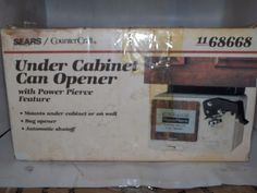 VINTAGE SEARS/COUNTER CRAFT UNDER CABINET CAN OPENER WITH POWER PIERCE FEATURE.. #SEARSCOUNTERCRAFT