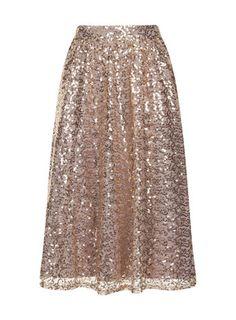 Gold Sequined Midi Skirt