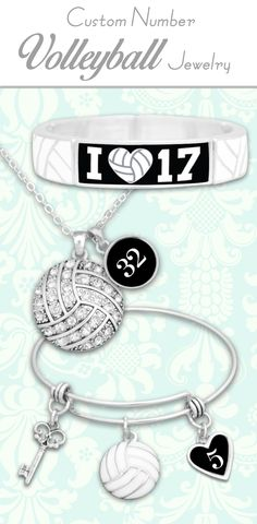 Volleyball jewelry with custom jersey numbers!! - $9.98 // Great for moms, coaches, and end-of-season gifts! Custom initials, loved ones, and MORE at out website Charmingcollectables.net