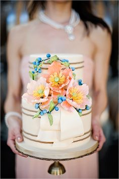 peach and blue wedding cake by Anna Elizabeth Cakes