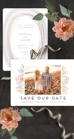 Use your engagement photos to paint a picture of your wedding day with a unique save the date from the Minted community of artists. Find more customizables designs now on Minted.com