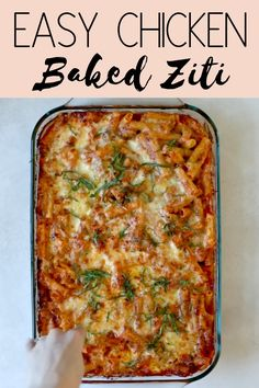 Chicken Baked Ziti: An easy and healthy casserole recipe made with Parmesan, Ricotta and Mozzarella! Be sure to watch the video to see how simple it really is. Chicken Ziti, Baked Ziti With Chicken, Easy Baked Ziti, Baked Ziti Healthy, Healthy Casserole Recipes, Easy Healthy Recipes, Easy Microwave Recipes, Health Recipes, Pasta Recipes