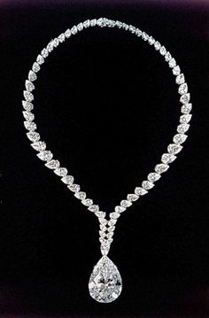 "69.42-carat pear-shape ""Taylor-Burton"" diamond...originally worn as a ring-then converted into a Cartier necklace."
