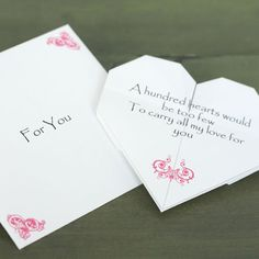 Homemade Boyfriend Gift Ideas Origami Heart Love Note