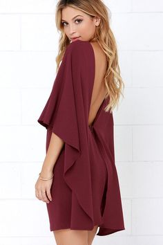 Best is Yet to Come Burgundy Backless Dress